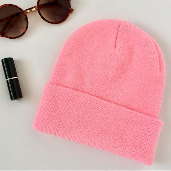 Bubble Gum Pink Fold Over Beanie Hat Thick 90 s e2663d2c1573